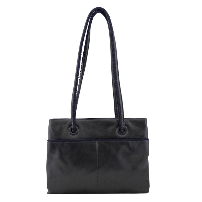 1990s Prada Black Leather Shoulder Bag  In Good Condition For Sale In Toronto, Ontario