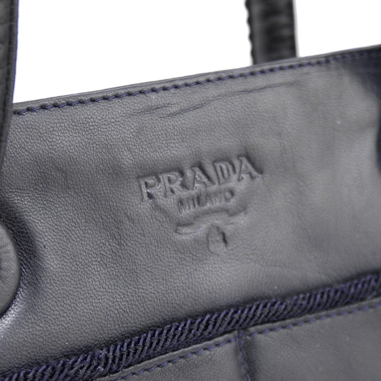 Women's or Men's 1990s Prada Black Leather Shoulder Bag  For Sale