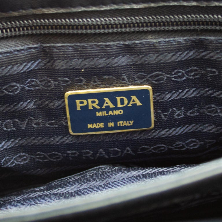 1990s Prada Black Leather Shoulder Bag  For Sale 3