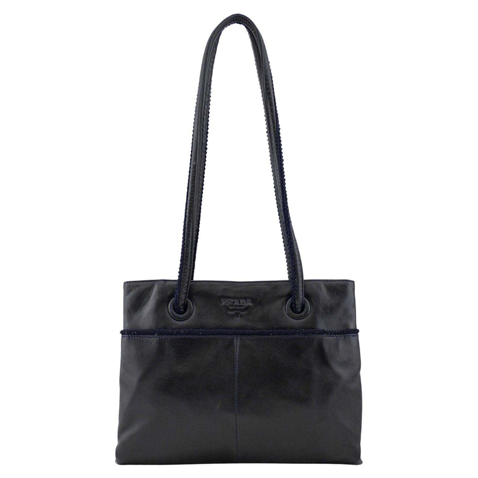 1990s Prada Black Leather Shoulder Bag