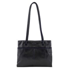 1990s Prada Black Leather Shoulder Bag