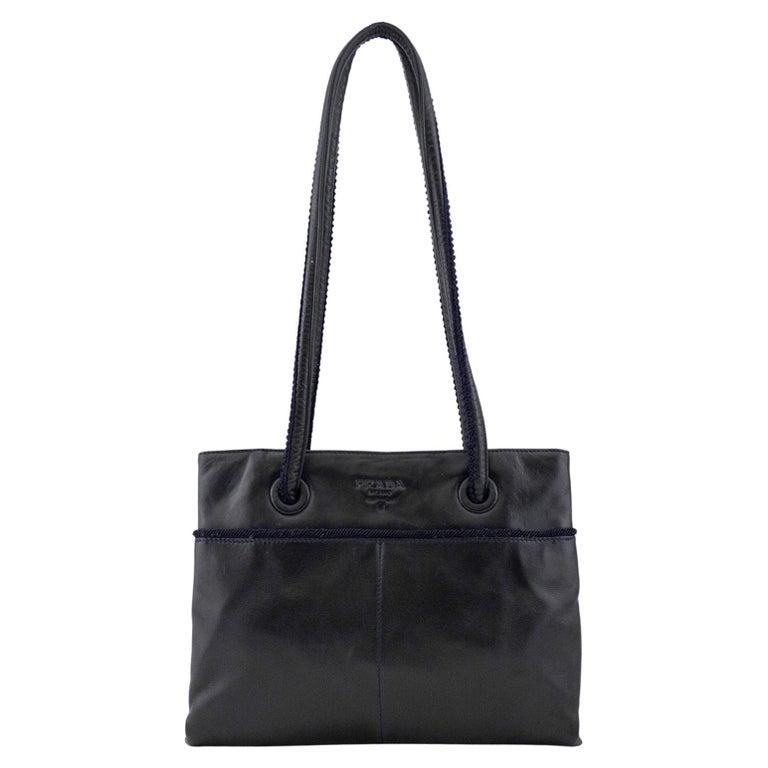 1990s Prada Black Leather Shoulder Bag  For Sale