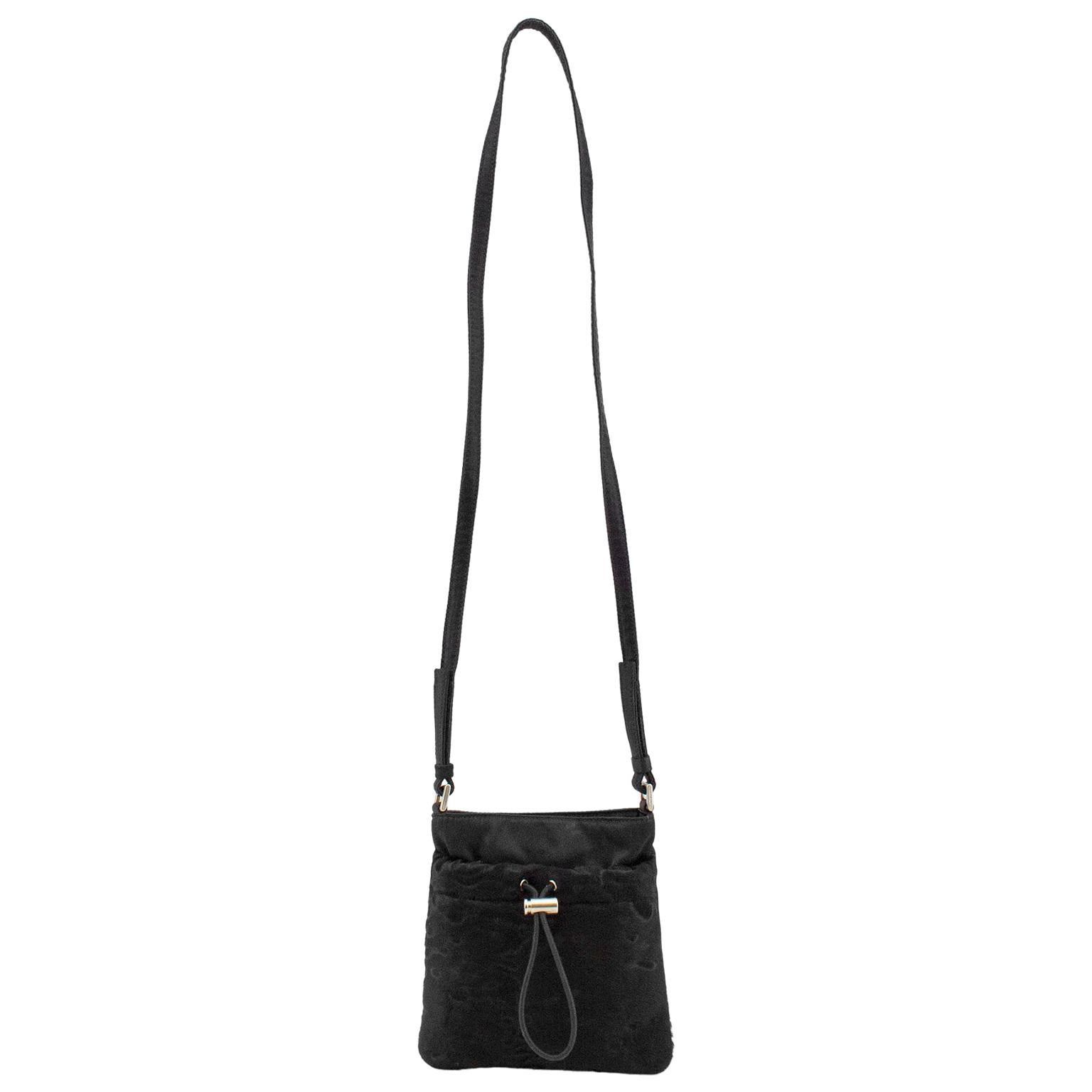 1990s Prada Black Satin and Pony Hair Mini Crossbody Bag