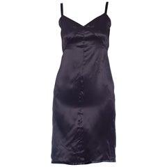 1990s PRADA Black Silk Charmeuse Slip style Dress