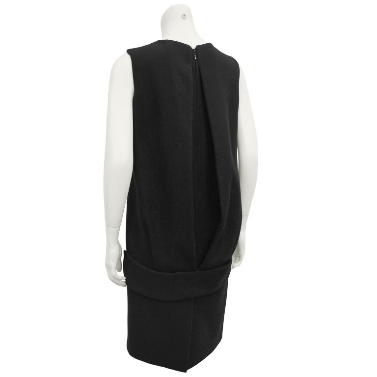 1990s Prada Black Wool Shift Dress  In Good Condition For Sale In Toronto, Ontario