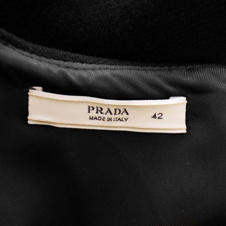 1990s Prada Black Wool Shift Dress  For Sale 1