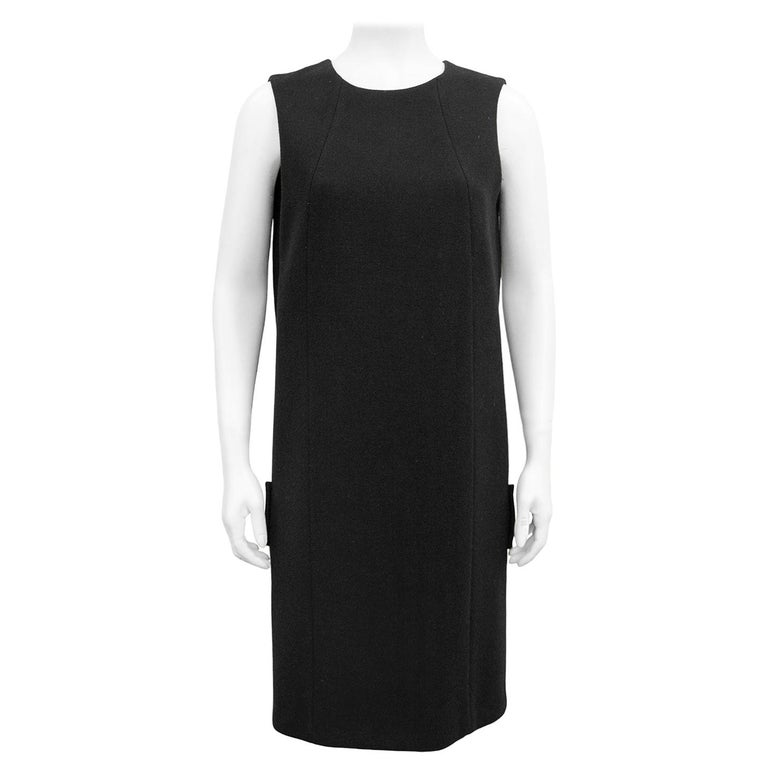 1990s Prada Black Wool Shift Dress  For Sale