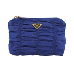 1990s Prada Blue Ruched Nylon Clutch