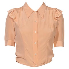 1990S PRADA Blush Pink Silk Crepe De Chine Short Sleeve Blouse