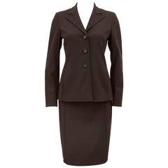 1990s Prada Brown Techno Fabric Skirt Suit