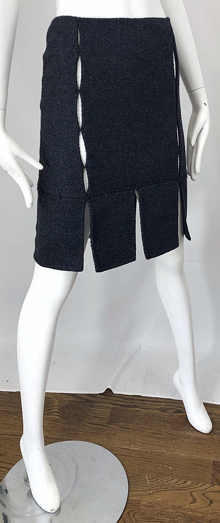 1990s Prada Charcoal Grey Cut - Out High Waisted Wool Vintage 90s Pencil Skirt For Sale 6