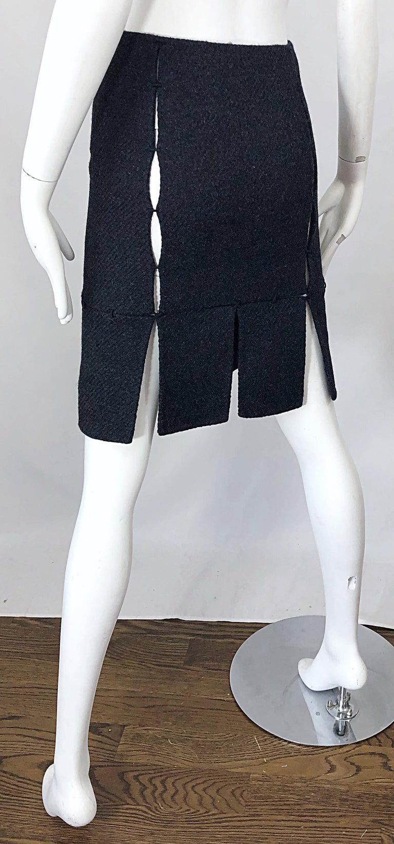 1990s Prada Charcoal Grey Cut - Out High Waisted Wool Vintage 90s Pencil Skirt For Sale 8
