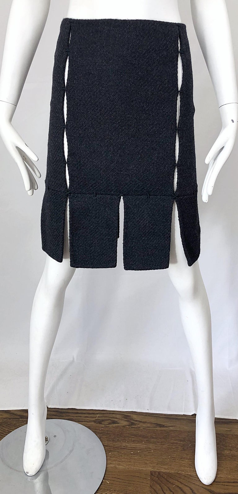 1990s Prada Charcoal Grey Cut - Out High Waisted Wool Vintage 90s Pencil Skirt For Sale 9