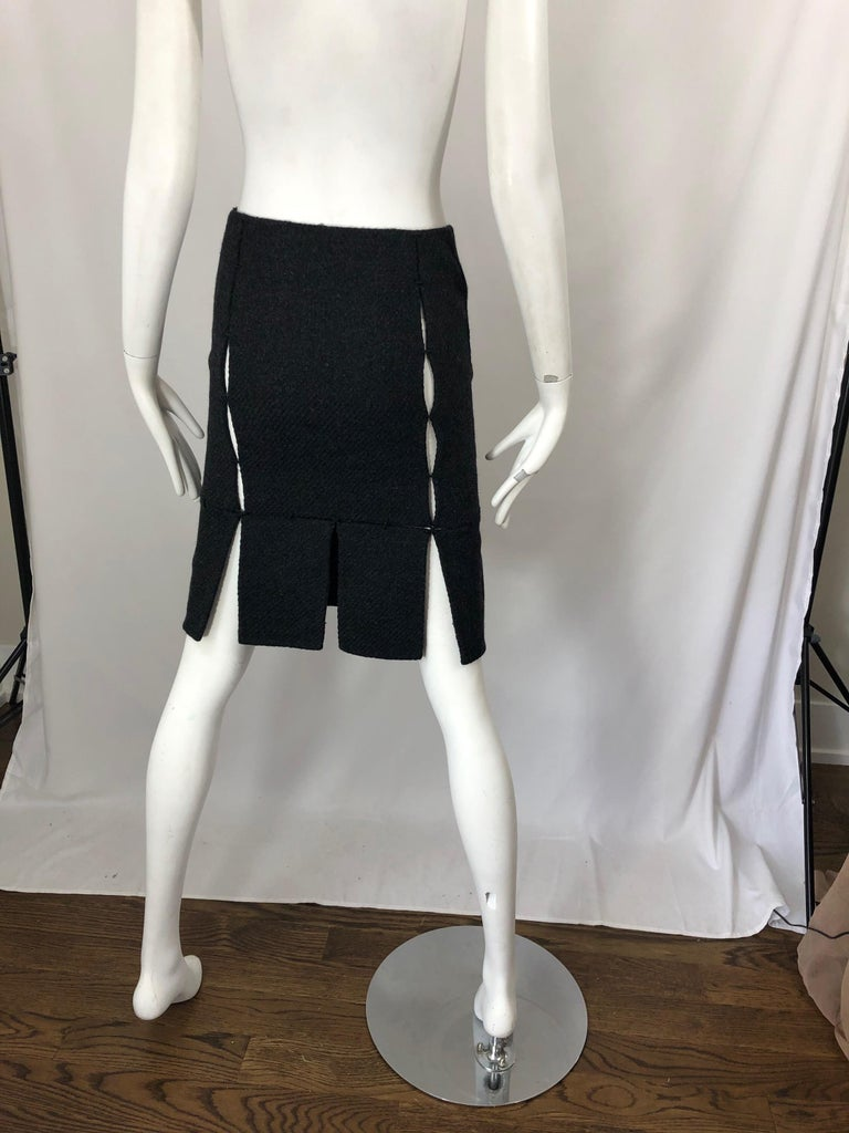 1990s Prada Charcoal Grey Cut - Out High Waisted Wool Vintage 90s Pencil Skirt In Excellent Condition For Sale In Chicago, IL