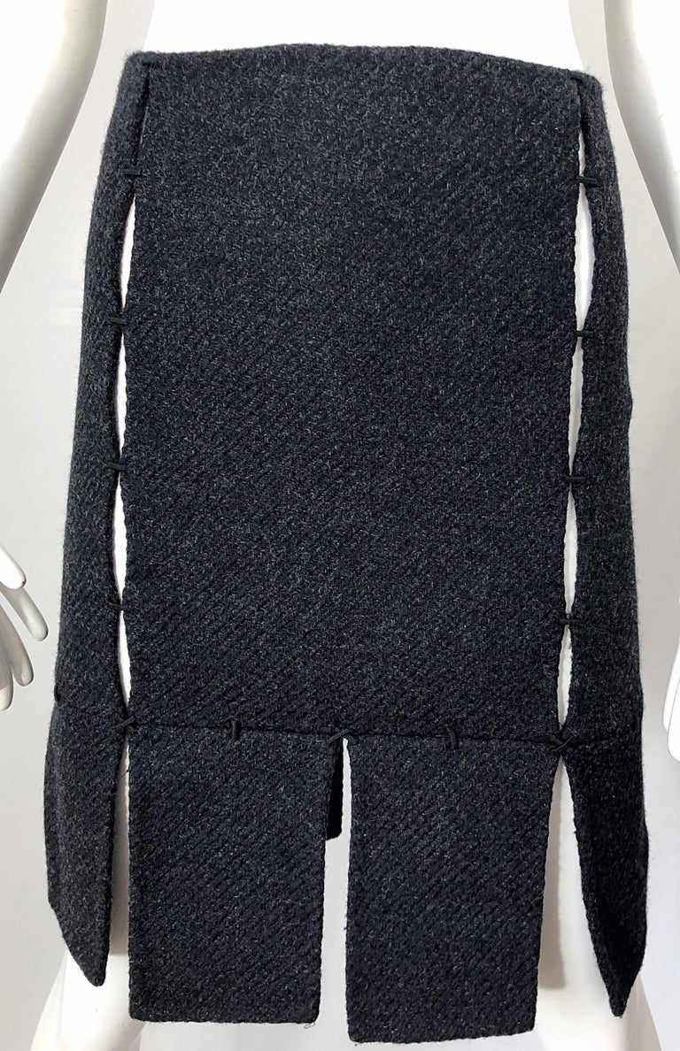 Women's 1990s Prada Charcoal Grey Cut - Out High Waisted Wool Vintage 90s Pencil Skirt For Sale