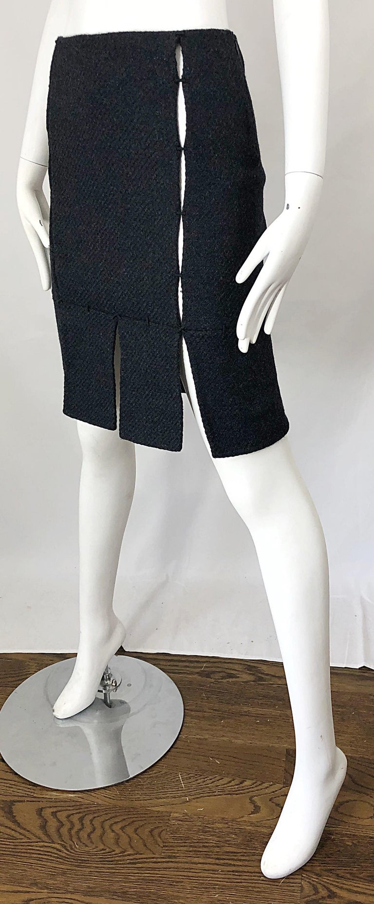 1990s Prada Charcoal Grey Cut - Out High Waisted Wool Vintage 90s Pencil Skirt For Sale 1