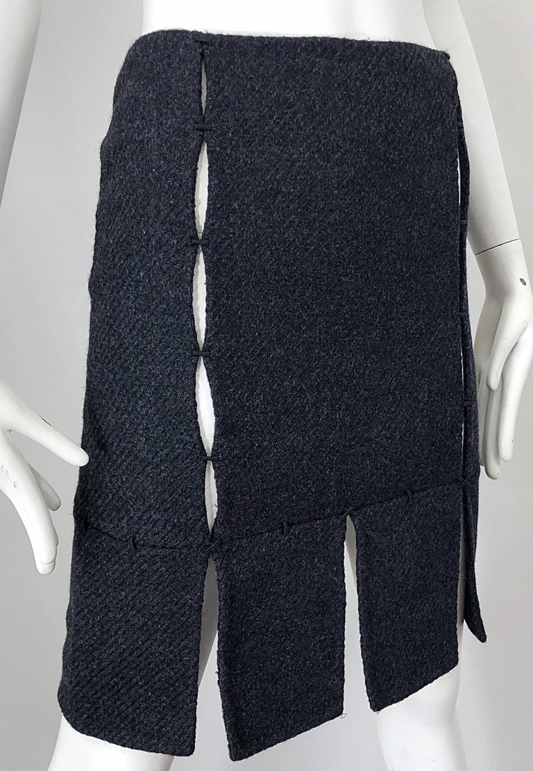 1990s Prada Charcoal Grey Cut - Out High Waisted Wool Vintage 90s Pencil Skirt For Sale 2