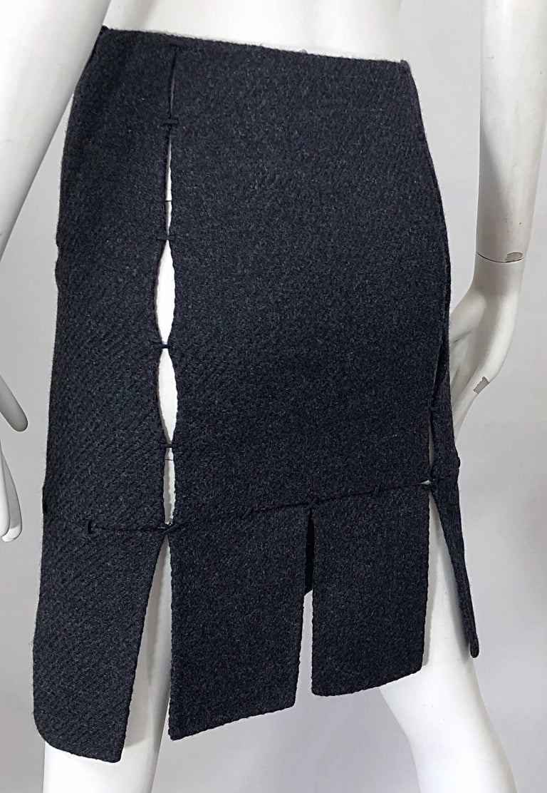 1990s Prada Charcoal Grey Cut - Out High Waisted Wool Vintage 90s Pencil Skirt For Sale 3
