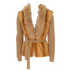 1990s Prada Fox Fur, Kolinsky Fur and Beige Wool Sweater