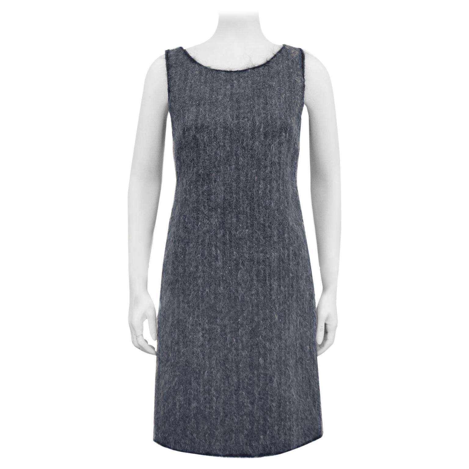 1990s Prada Grey Wool and Mohair Shift Dress