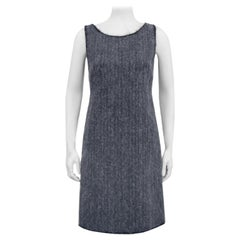 1990s Prada Grey Wool and Mohair Shift Dress
