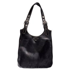 1990s Prada Handbag Black Lambskin Leather Shoulder Hobo Bag With Buckles