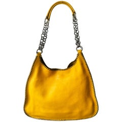 1990s Prada hobo yellow mandras leather chain bag