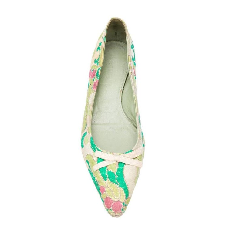 1990s Prada Jacquard Ballet Flats In Good Condition For Sale In Lugo (RA), IT