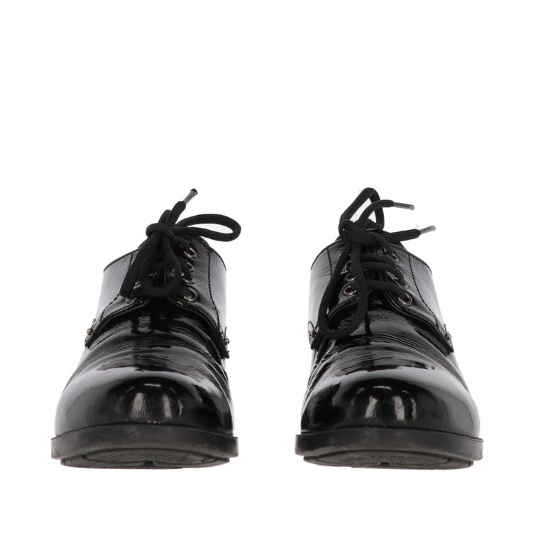 Black 1990s Prada Leather Lace-up Shoes For Sale