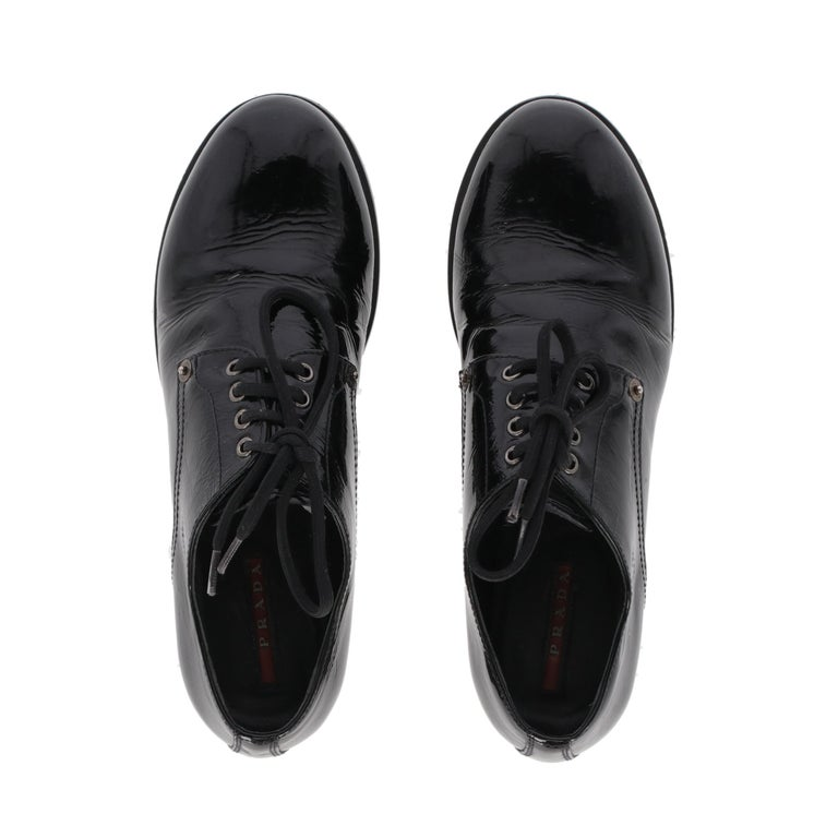 1990s Prada Leather Lace-up Shoes For Sale 1