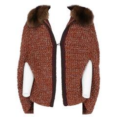 1990s Prada Marten Fur and Orange Rust Wool Cape Sweater