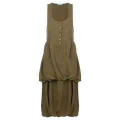 1990s Prada Military Green Sleeveless Dress