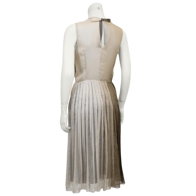 1990s Prada Pleated Taupe Chiffon Ombre Dress  In Good Condition For Sale In Toronto, Ontario