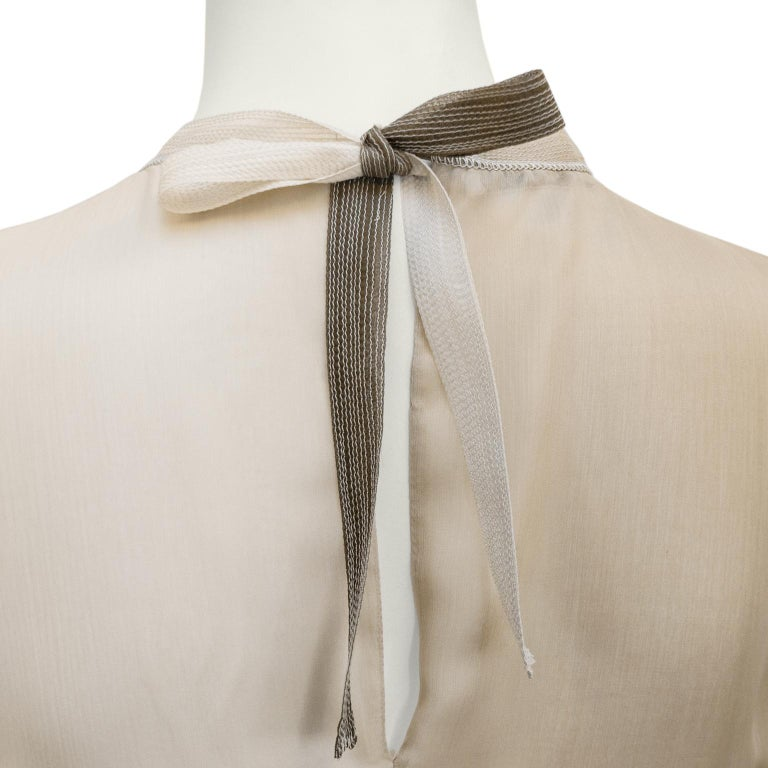 Women's 1990s Prada Pleated Taupe Chiffon Ombre Dress  For Sale