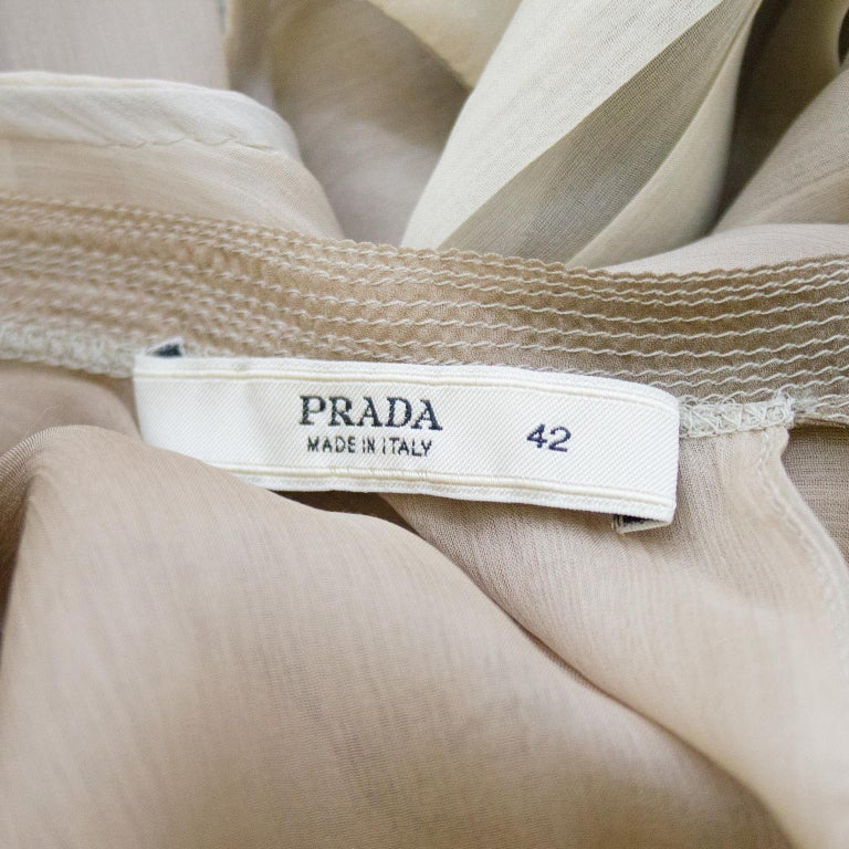 1990s Prada Pleated Taupe Chiffon Ombre Dress  For Sale 2