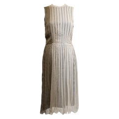 1990s Prada Pleated Taupe Chiffon Ombre Dress
