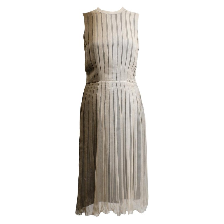 1990s Prada Pleated Taupe Chiffon Ombre Dress  For Sale