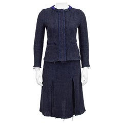 1990s Prada Raw Edge Navy Blue Knit Tweed Skirt Suit