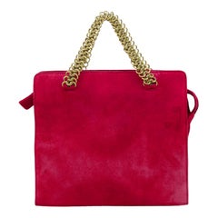 1990s Prada Red Suede Hand Bag with Gold Chain Handles