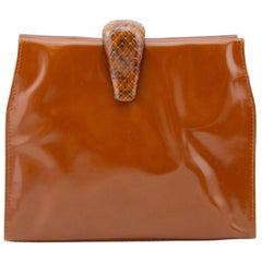 1990s Prada Terracotta Patent Leather Clutch