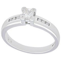 1990s Princess Cut Diamond and White Gold Solitaire Engagement Ring