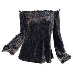 1990s Ralph Lauren Black Label Size 14 Paisley Velvet Off the Shoulder Blouse