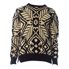 1990S Ralph Lauren Blue & White Wool Hand Knit Sweater