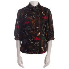 1990S Ralph Lauren Cotton Sateen Equestrian Print Shirt