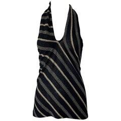 1990s Ralph Lauren Linen Black and Tan Striped Vintage 90s Halter Top Shirt