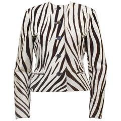 1990s Ralph Lauren Purple Label Flat Cow Hide Zebra Jacket