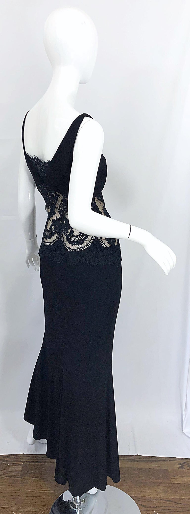 1990s Randolph Duke Black Sexy Lace Cut-Out Sleeveless Vintage 90s Evening Gown For Sale 7