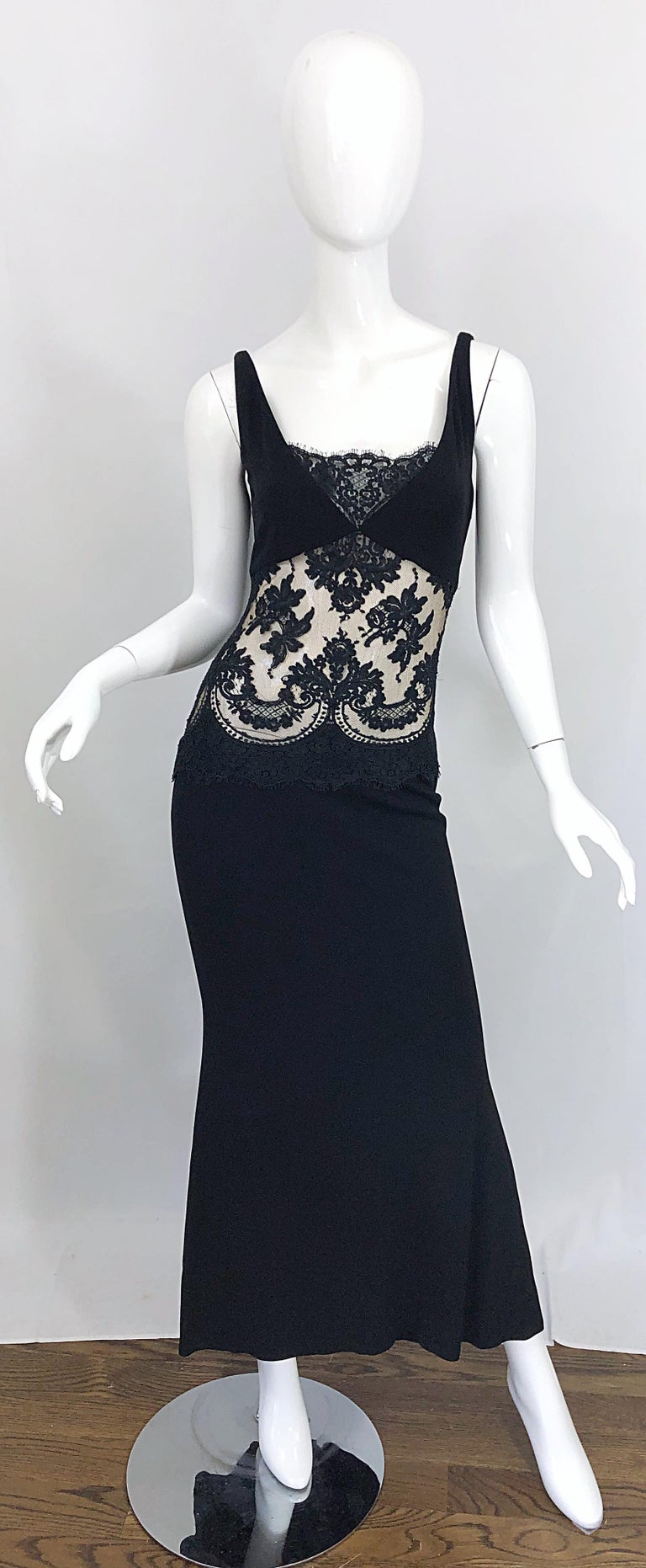 1990s Randolph Duke Black Sexy Lace Cut-Out Sleeveless Vintage 90s Evening Gown For Sale 8