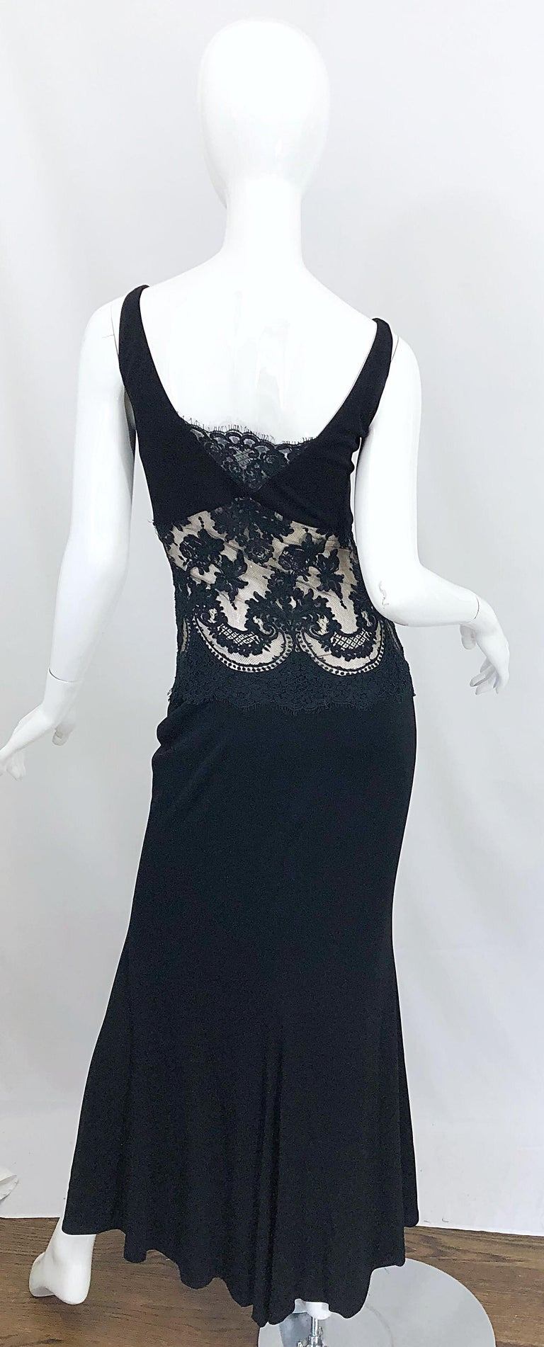 1990s Randolph Duke Black Sexy Lace Cut-Out Sleeveless Vintage 90s Evening Gown In Excellent Condition For Sale In Chicago, IL