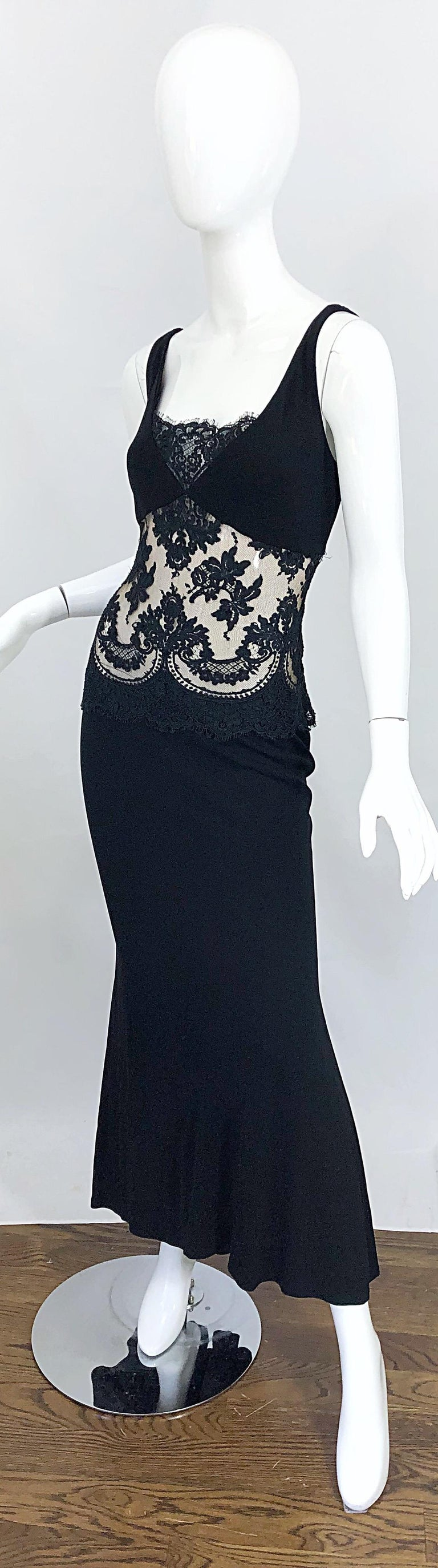 1990s Randolph Duke Black Sexy Lace Cut-Out Sleeveless Vintage 90s Evening Gown For Sale 1